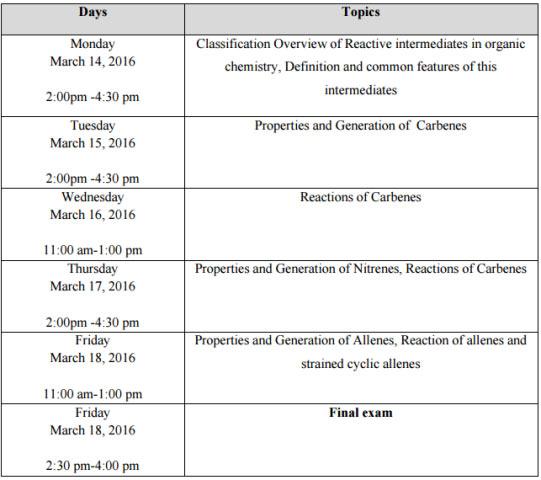 lectures schedule Reactive Intermediates