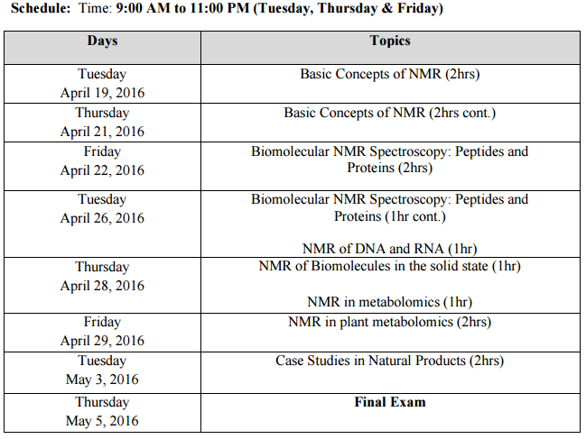 NMR of Biological Molecules Schedule